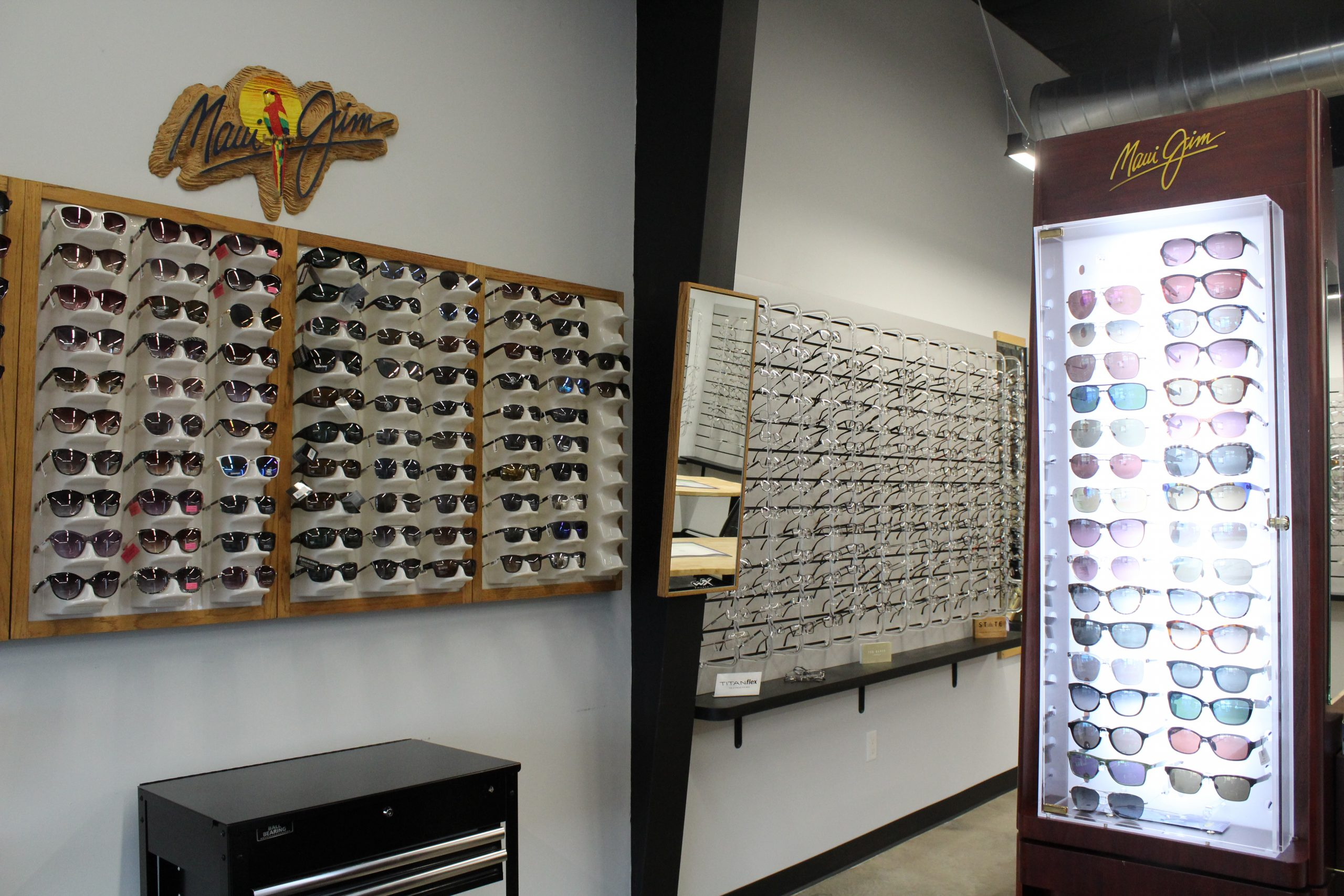 Baker Eye Care lobby displaying the Maui Jim Sunglasses they carry