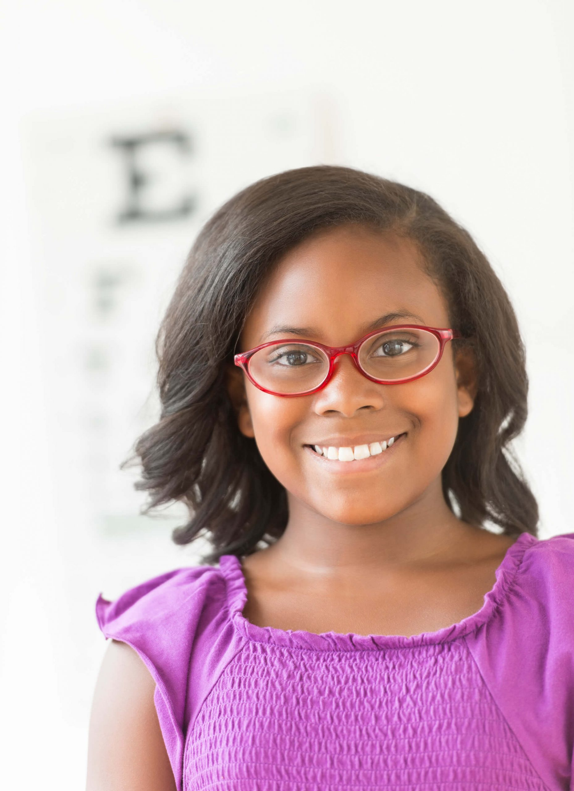 Young girl with glasses on